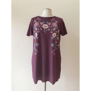 Burgundy Floral Painted Dress